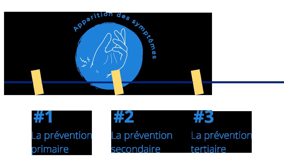 Schéma présentant les différentes étapes de la prévention des TMS